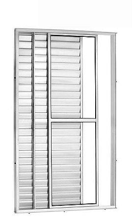 Porta Balcão em Alumínio Branco 3 Folhas Uma Fixa Vidro Liso e Veneziana Com Fechadura - Linha 25 Trifel