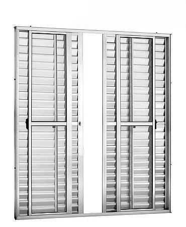 Porta Balcão em Alumínio Branco 6 Folhas Vidro Liso e Veneziana Com Fechadura - Linha 25 Trifel
