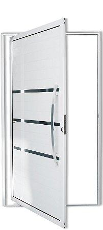 Porta Pivotante em Alumínio Branco Evolution C/Friso Puxador 80 cm Dubai Fechadura Rolete - Brimak Super
