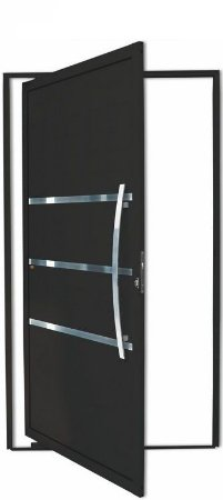 Porta Pivotante em Alumínio Preto Evolution C/Friso Puxador 80 cm Dubai Fechadura Rolete - Brimak Super