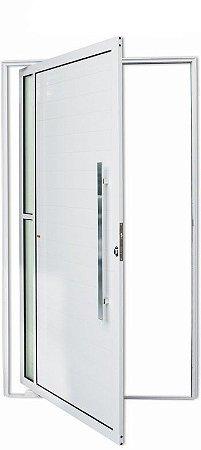 Porta Pivotante Lambril Visione C/ Puxador Milão Polido C/ Fechadura Rolete em Alumínio Branco C/ Vidro Liso - Brimak Super 25