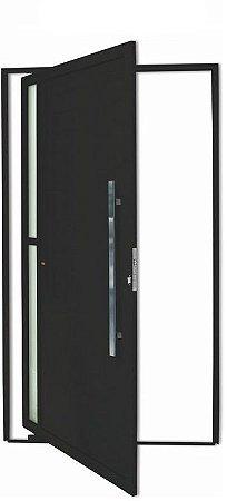 Porta Pivotante em Alumínio Preto Visione 2 Vidros Temp. 6 mm Puxador 80 cm Milão Fechadura Rolete - Brimak Super