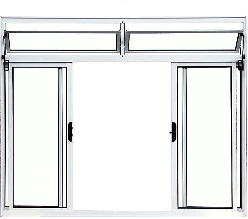 Janela de Correr em Alumínio Branco 4 Folhas Com Bandeira Vidro Liso Incolor - Linha Normatizada Lux Esquadrias