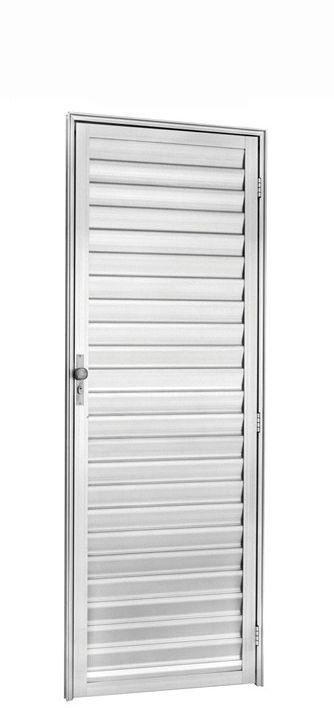 Porta de Abrir (Giro) em Alumínio Brilhante Palheta Sem Ventilação - Linha 25 Trifel