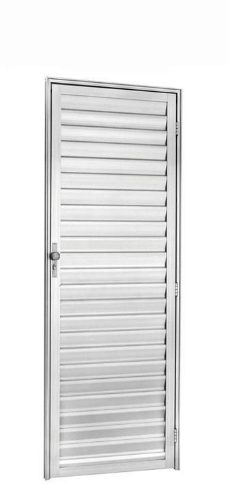 Porta de Abrir (Giro) em Alumínio Branco Palheta Sem Ventilação - Linha 25 Trifel