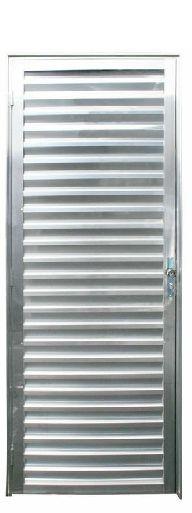 Porta de Abrir (Giro) em Alumínio Brilhante Palheta Sem Ventilação - Linha 25 Esap