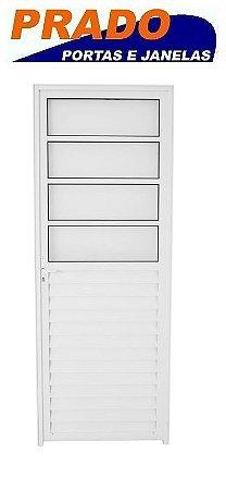 Porta de Abrir (Giro) em Alumínio Branco Com 4 Vidros Canelado Fixo - Linha 25 Prado