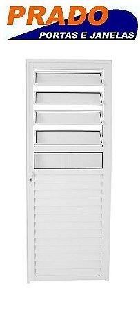 Porta de Abrir (Giro) em Alumínio Branco Com Basculante Vidro Canelado - Linha 25 Prado