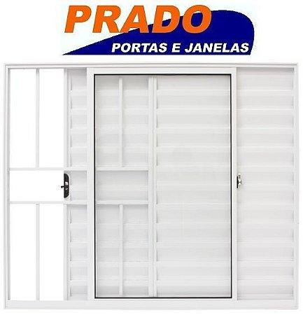 Janela Veneziana em Alumínio Branco 3 Folhas Uma Fixa com Grade Vidro Liso Incolor - Linha Normatizada Prado