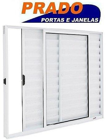Janela Veneziana em Alumínio Branco 3 Folhas Uma Fixa Vidro Liso Incolor - Linha Normatizada Prado