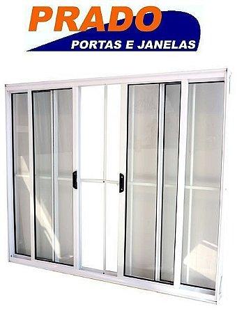 Janela de Correr em Alumínio Branco 4 Folhas com Grade Vidro Liso Incolor - Linha Normatizada Prado