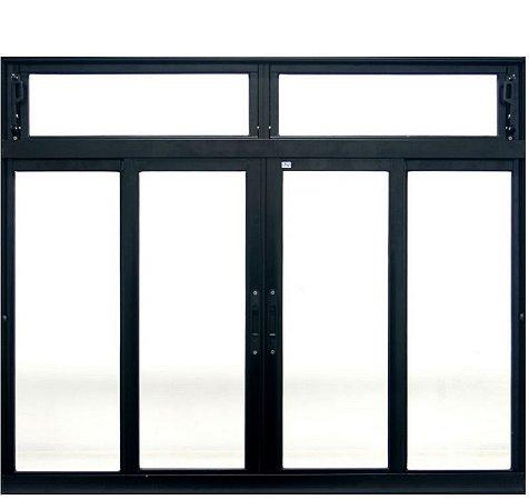 Janela de Correr em Alumínio Preto 4 Folhas Com Bandeira Vidro Liso Incolor - JAP Perfecta Max