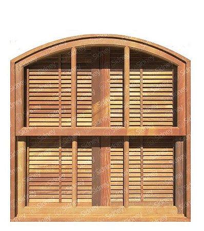 Janela Veneziana De Abrir/Guilhotina em Madeira Imbuia em Arco Com Ferragens Batente de 14 Cm - Sidney Esquadrias