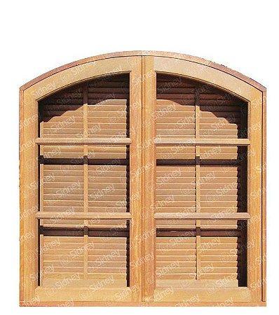 Janela Veneziana De Abrir/Abrir em Madeira Imbuia em Arco Com Ferragens Batente de 14 Cm - Sidney Esquadrias