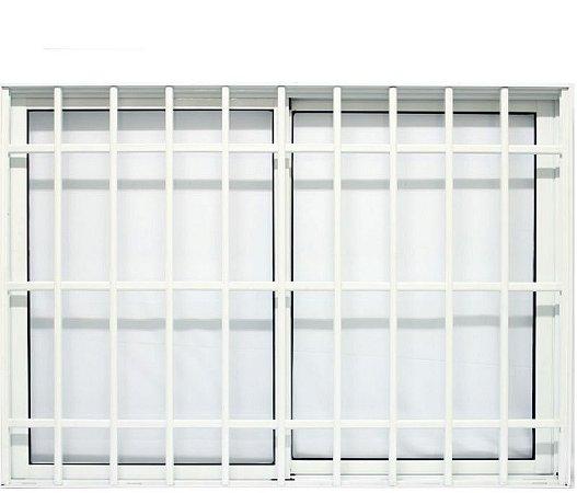 Janela de Correr em Alumínio Branco 2 Folhas Móveis Com Grade Vidro Liso Incolor - JAP Caribe Max