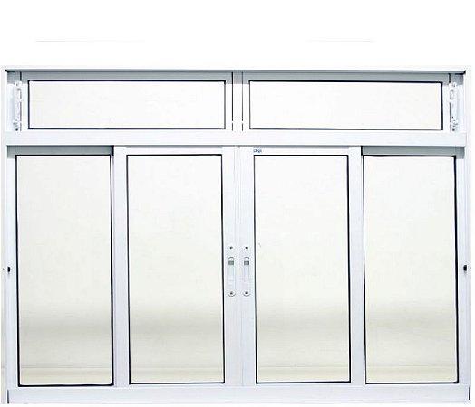 Janela de Correr em Alumínio Branco 4 Folhas Com Bandeira Vidro Liso Incolor - JAP Caribe Max