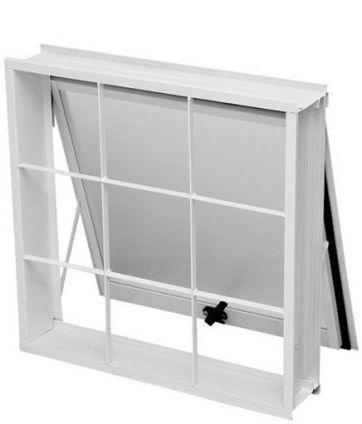 Janela Maxim-Ar em Aço Branco uma Seção com Grade Quadriculada Com Vidro - Requadro 12 cm - Gerotto Ellegance