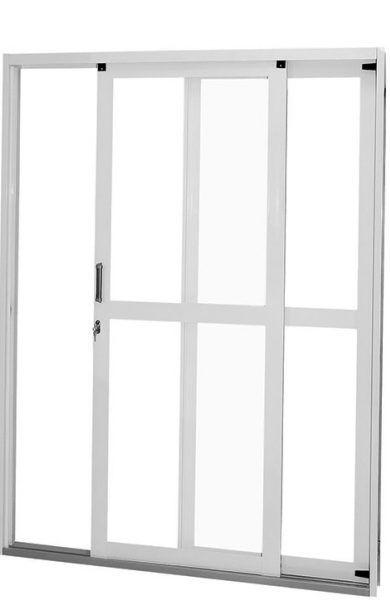 Porta de Correr em Aço Branco 2 Folhas Panorâmico com Vidro Liso incolor Com Fechadura - Requadro 12 cm - Gerotto Ellegance