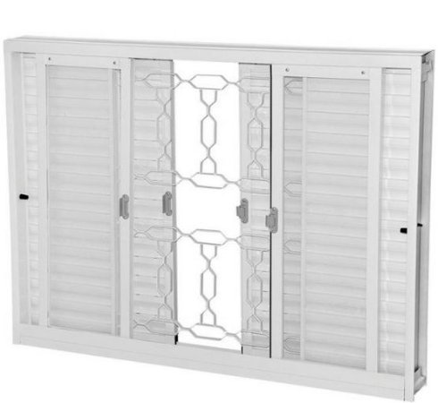Janela Veneziana em Aço Branco 6 Folhas Com Grade Elo com Vidro Liso Incolor - Requadro 12 cm - Gerotto Ellegance