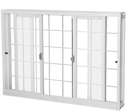 Janela de Correr em Aço Branco 4 Folhas Com Grade Quadriculada e Vidro Liso Incolor - Requadro 12 cm - Gerotto Ellegance