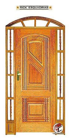 Portal de Abrir (Giro) Linear em Madeira Maciça Angelim com Fechadura e Maçaneta Externa Taco de Golf Batente de 14 Cm - Rick Esquadrias
