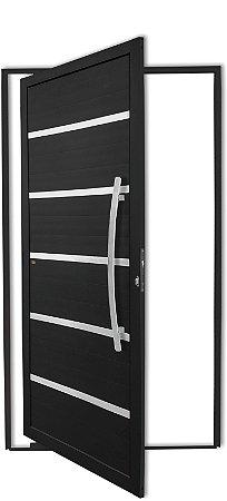 Porta Pivotante em Alumínio Preto Premium C/Friso Puxador 80 cm Milão Fechadura Rolete - Brimak Super
