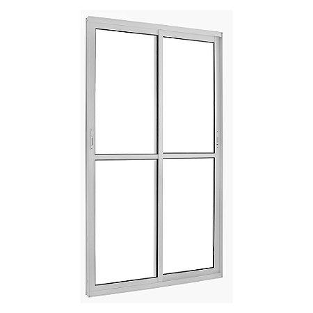 Porta de Correr em Alumínio Branco 2 Folhas Móveis Vidro Liso Incolor com Fechadura - Linha TopSul - L30 - Esquadrisul