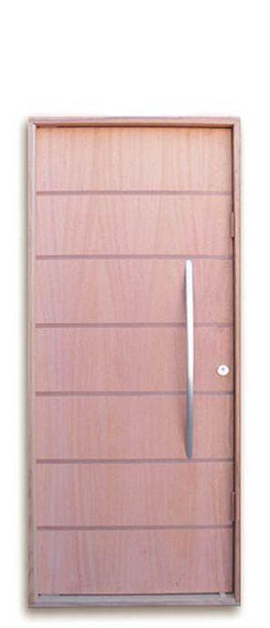 Porta de Abrir Pivotante em Madeira Sólida Angelin com Puxador reto 60 cm e Fechadura Stam - Batente de 14 Cm Uniportas