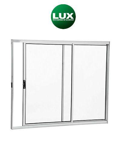 Saldão - Janela de Correr em Alumínio Branco 2 Folhas Uma Fixa Vidro Liso Incolor 1,20 X 1,20 - Linha Normatizada Lux Esquadrias - Última Peça