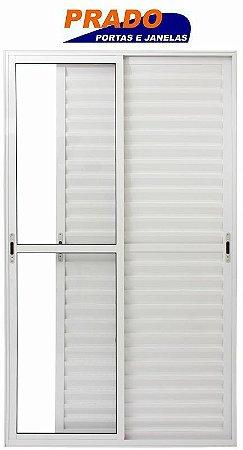 Porta Balcão em Alumínio Branco 3 Folhas Móveis Vidro Liso Com Fechadura - Linha 25 Prado