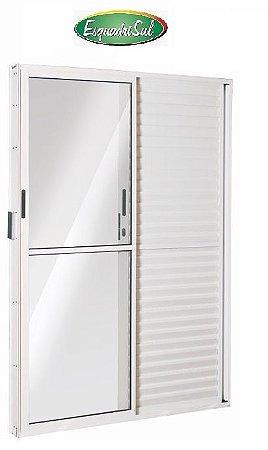 Saldão - Porta Balcão em Alumínio Branco 3 Folhas Uma Fixa Vidro Liso e Veneziana Com Fechadura 2,10 X 1,50 Esquerda - Linha 25 Esquadrisul - Última Peça
