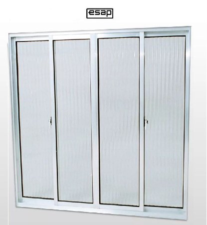 Saldão - Janela de Correr em Alumínio Brilhante 4 Folhas Vidro Canelado 1,20 X 1,50 - Linha Modular Esap -Último Peça