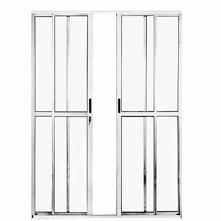Porta de Correr em Alumínio Branco 4 Folhas Vidro Liso Com Fechadura - Linha Max Lux Esquadrias