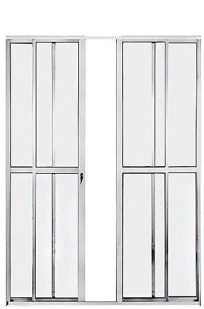 Porta de Correr em Alumínio Brilhante 4 Folhas Vidro Liso Com Fechadura - Linha Max Lux Esquadrias