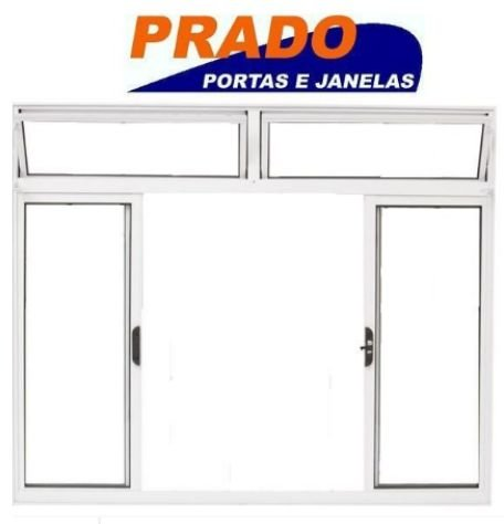SALDÃO - JANELA DE CORRER EM ALUMÍNIO BRANCO 4 FOLHAS COM BANDEIRA VIDRO LISO INCOLOR - 1,00 X 2,00 - LINHA NORMATIZADA PRADO - ÚLTIMA PEÇA