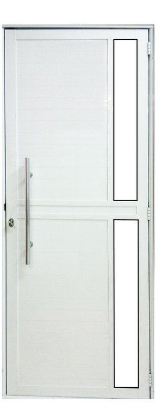 Porta de Abrir (Giro) em Alumínio Branco Lambril com Puxador e Visor Lateral Vidro Mini Boreal - Linha Premium - Lux Esquadrias