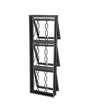 Janela Maxim-Ar Em Aço 3 Secções Vertical Com Grade ELO. Batente de 12 cm - Gerotto Prata