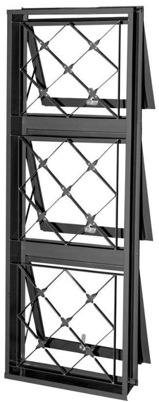 Janela Maxim-Ar Em Aço 3 Secções Vertical Com Grade Xadrez Batente de 12 cm - Gerotto Prata