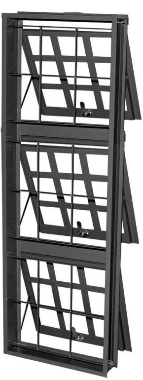 Janela Maxim-Ar Em Aço 3 Secções Vertical Quadriculado Com Grade Quadriculada Batente de 12 cm - Gerotto Prata