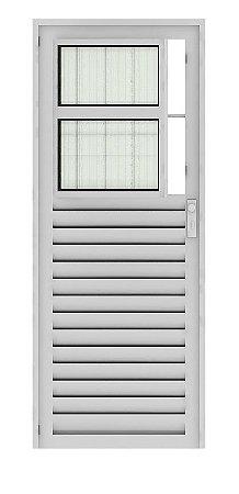 Saldão - Porta de Abrir (Giro) em Alumínio Brilhante Social com Postigo Vidro Canelado 2,10 X 0,80 Esquerda - Linha 25 Mais Esquadrias - ÚLTIMA PEÇA