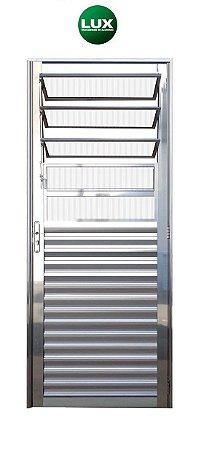 Saldão - Porta de Abrir (Giro) em Alumínio Brilhante Com Basculante Vidro Canelado - Linha 25 Lux Esquadrias - Últimas peças