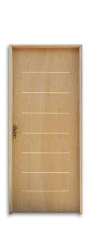 Porta de Madeira Semi-Oca Cristal Padrão Imbuia C/ Fechadura Ext. Navas Montada No Batente Misto 11 cm - Uniportas