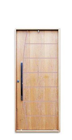 Porta de Abrir (Giro) em Madeira Semi Oca Imbuia Belíssima Riscada Batente Tauari de 11cm com Puxador Reto 60 cm e Fechadura - Uniportas