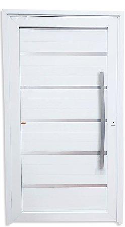 Porta Pivotante Premium em PVC Branco com Lambril em Alumínio e Frisos Com Puxador 100 cm Fechadura Rolete - Linha TecPlus 100