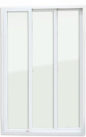 Porta de Correr PVC Branco 3 Folhas Móveis Vidro Temperado - Brimak iTEC