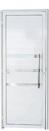 Porta De Abrir (Giro) em Alumínio Branco Lambril e Friso Com Puxador Londres  - Linha Super 25 Brimak