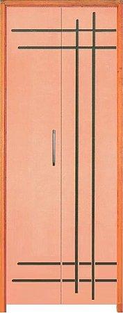 Porta Camarão Frisada Estilo Curupixá c/ Batente de 14 cm Misto - Rick Esquadrias