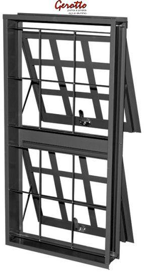 SALDÃO - Janela Maxim-Ar em Aço duas Seções Vertical Quadriculado com Grade Quadriculada sem Vidro - 0,96 X 0,50 - Requadro 12 cm - Linha Prata Gerotto - ÚLTIMAS 2 PEÇAS