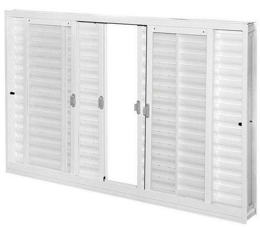 Janela Veneziana em Aço Branco 6 Folhas Sem Grade Com Vidro Liso Incolor - Requadro 12 cm - Gerotto Ellegance