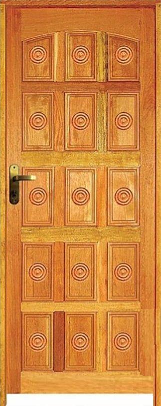 Porta Torneada 15 Almofadas Mista Maciça c/ Batente de 14 cm Misto c/ Fechadura Tambor - Rick Esquadrias